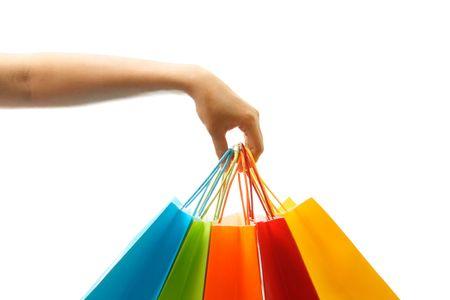 ショッピング バッグの束を運ぶ女性の手 写真素材 - 1297913