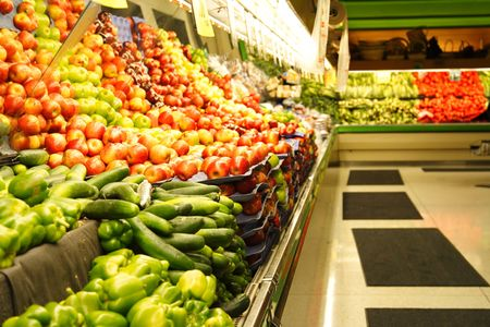 hypermarket: A shot of fruit and vegetables section in a grocery store