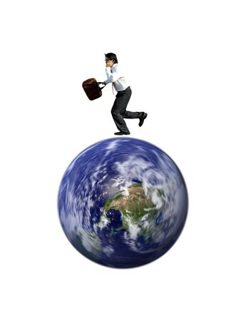 A businessman talking on the phone and running on a spinning globe Stock Photo - 1440336