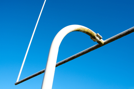 punt: A shot of an american football goal post