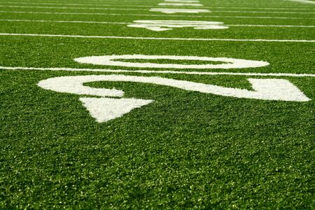 yardline: A shot of an american footbal field