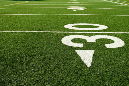 half ball: A shot of an american football field