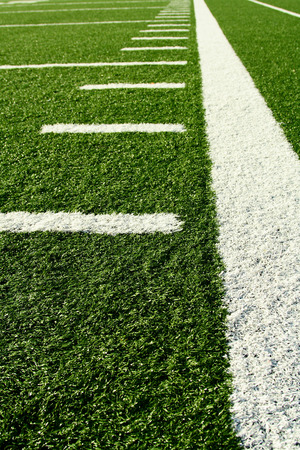 green lines: A shot of an american football field