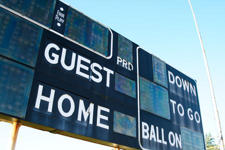 score board: A shot of a score board on a football stadium Stock Photo