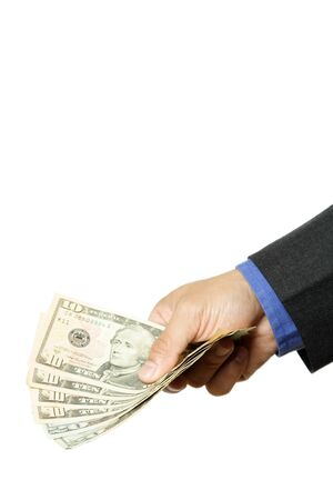 An isolated shot of a businessman handing out cash  photo