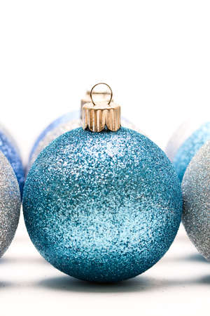 A shot of blue and silver christmas ornaments Stock Photo - 1666190