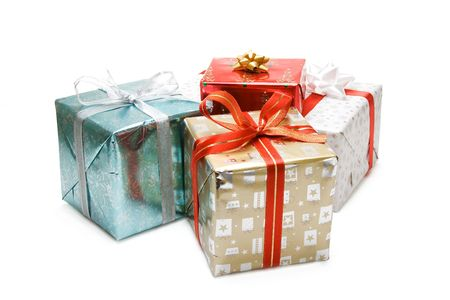 gold gift box: A shot of various christmas gift packages