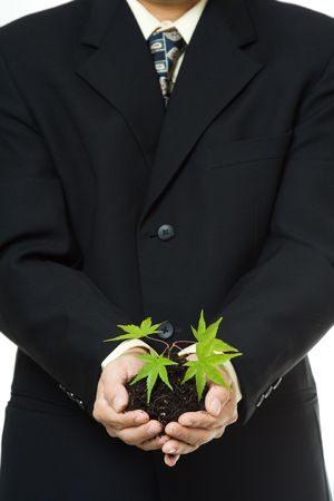nurturing: A conceptual shot of a businessman holding a new plant