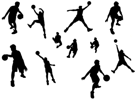A silhouette isolated shot of a basketball player in action Vector