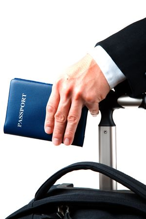 An isolated shot of a businessman carrying a luggage and a passport, can be used for business travel concept photo