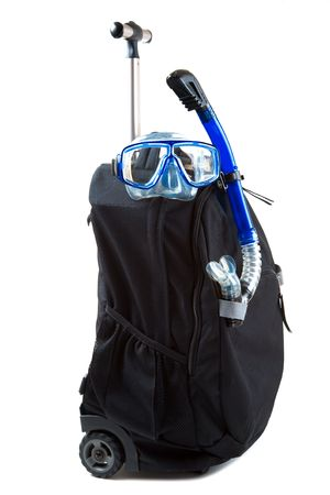 dive trip: An isolated shot of a luggage and snorkeling equipment, can be used for travel or vacation concept
