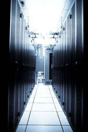 An interior shot of a technology data center Stock Photo