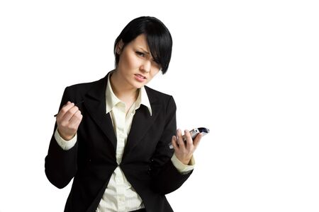 A shot of a stressed businesswoman with her PDA photo