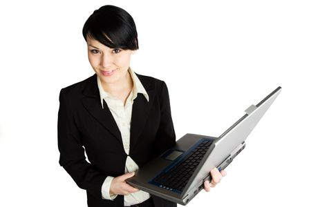 An isolated shot of a businesswoman with a laptop Stock Photo - 2514868