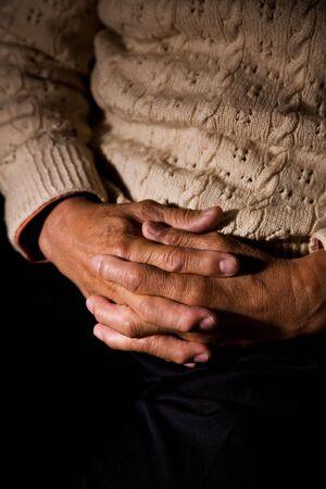 worshipping: A shot of a praying old man Stock Photo
