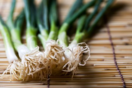 scallions: A shot of scallions or spring onions on a bamboo mat