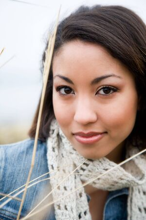 A portrait of a beautiful young woman outdoor Stock Photo - 2705253