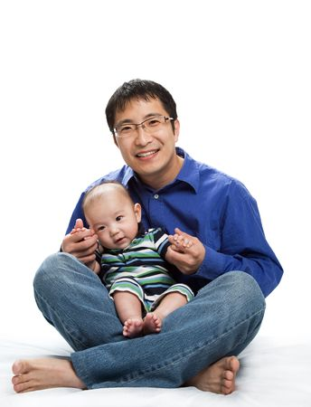 A shot of an asian father and his son Zdjęcie Seryjne