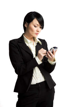 white work: A shot of a businesswoman working on her PDA Stock Photo