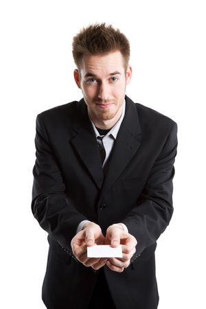 businesscard: An isolated shot of a caucasian businessman handing out his business card in asian style