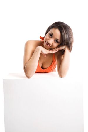 message: An isolated shot of a beautiful woman with a blank billboard, plenty of copyspace Stock Photo