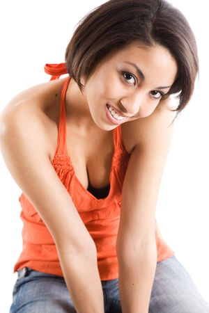 sexy asian woman: A portrait of a beautiful casual woman sitting on a chair Stock Photo