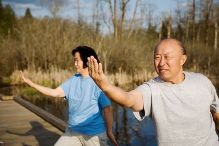A shot of a senior asian couple practicing tai-chi exercise