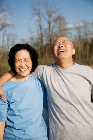A shot of a senior couple having a good time outdoor