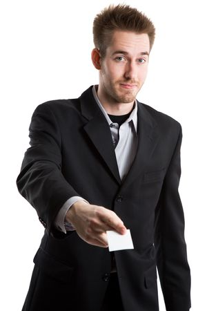 businesscard: An isolated shot of a caucasian businessman handing out his business card