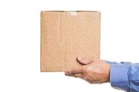 A shot of a man handing out a box photo