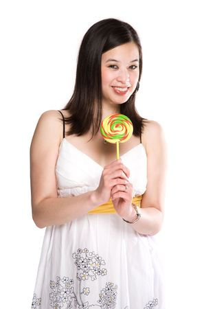 An isolated shot of a happy beautiful asian woman holding a lollipop photo