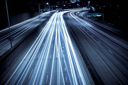 A time exposure shot of rush hour traffic photo