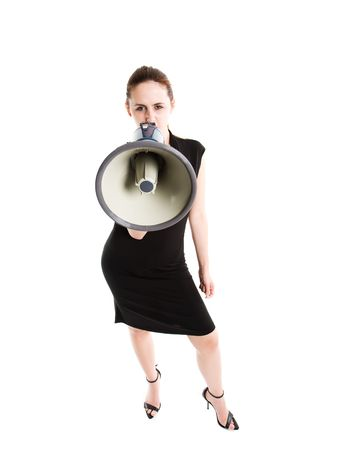 An isolated shot of a caucasian businesswoman shouting on a megaphone photo