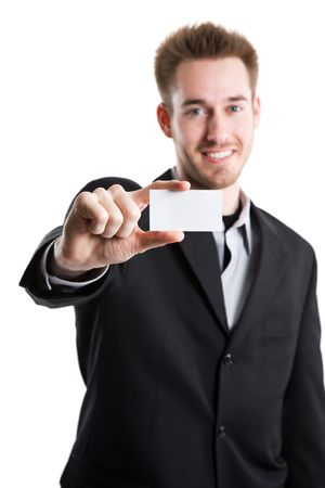 businesscard: An isolated shot of a caucasian businessman showing his business card