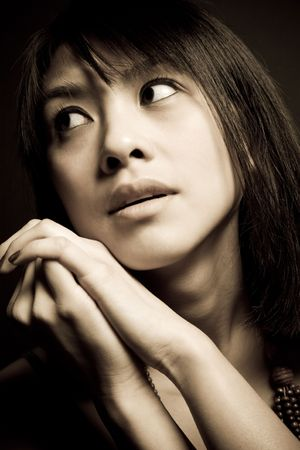A portrait of a beautiful asian woman photo