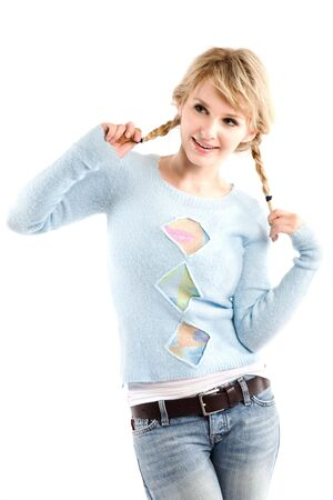 sweater girl: An isolated shot of a beautiful caucasian girl