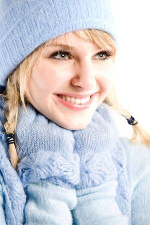 A headshot of a beautiful caucasian winter girl photo