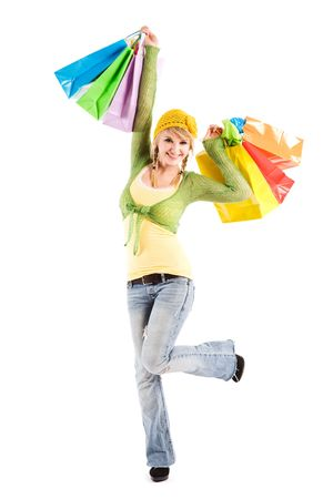 A beautiful caucasian girl carrying shopping bags Stock Photo - 3590249
