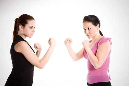 women fighting: A shot of two businesswomen ready to fight