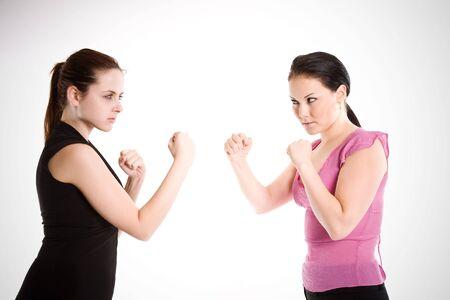 Een shot van twee ondernemers klaar om te vechten Stockfoto