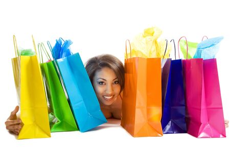 An isolated shot of a black woman with shopping bags Stok Fotoğraf