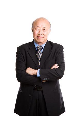 Een geïsoleerde shot van een senior-Aziatische zakenman