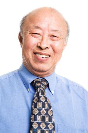 hombre calvo: Un tiro aislado de un alto hombre de negocios de Asia
