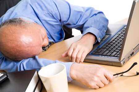 A senior asian businessman sleeping at his office Stock Photo - 3675230