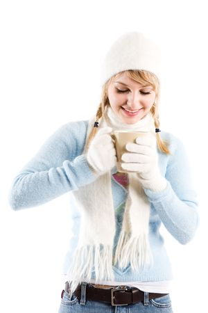 An isolated shot of a beautiful caucasian girl drinking coffee photo