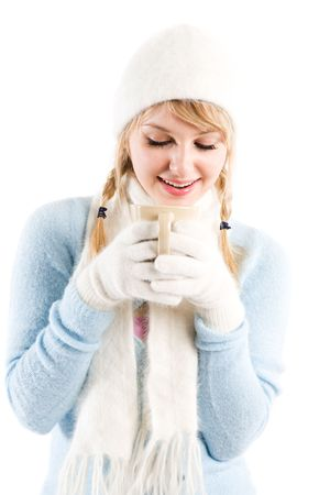 An isolated shot of a beautiful caucasian girl drinking coffee 版權商用圖片