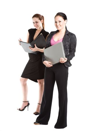 An isolated shot of two businesswomen working together photo