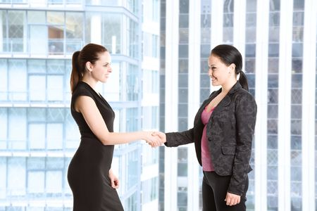 Two businesswomen shaking hands in the office Stock Photo - 3698218