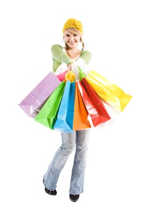 A beautiful caucasian girl carrying shopping bags Stock Photo - 3753645