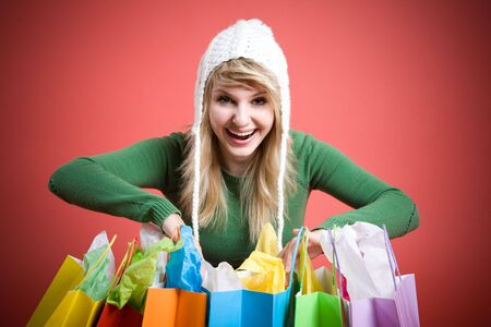 A beautiful caucasian girl with shopping bags Stock Photo - 3798559